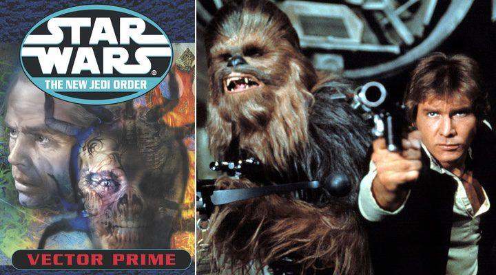 portada de la novela la novela de R.A. Salvatore 'Vector Prime' al lado de Chewbacca y Han Solo