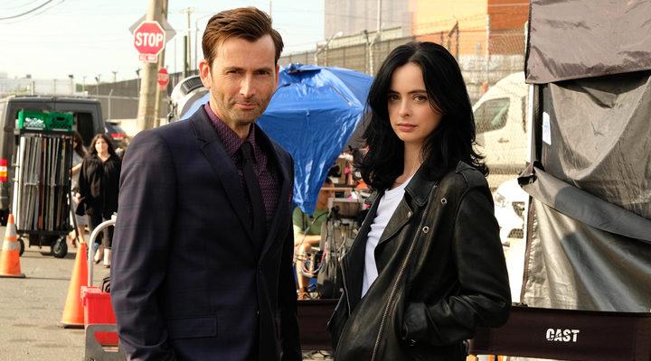 David Tennant y Krysten Ritter en el set de 'Jessica Jones'