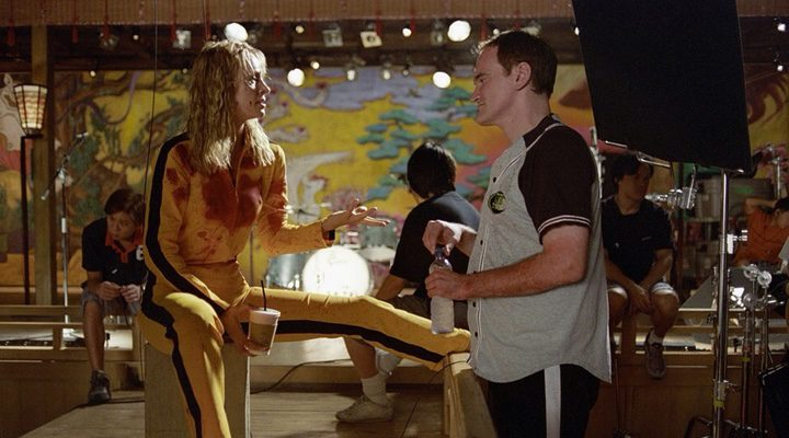'Uma Thurman y Quentin Tarantino durante las grabaciones de 'Kill Bill'