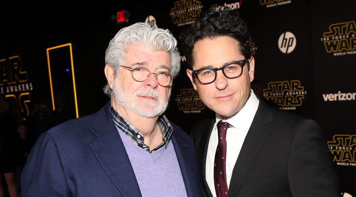 J.J. Abrams y George Lucas en la premiere de 'Star Wars: Los últimos Jedi'