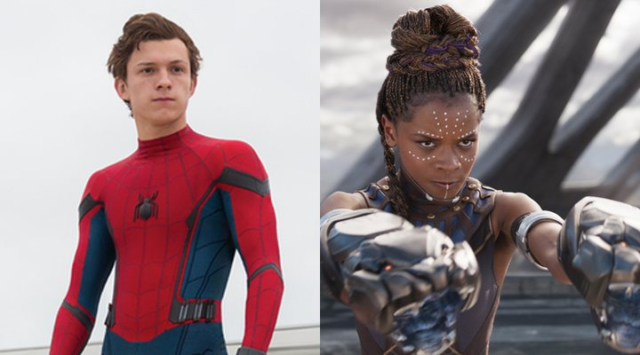 Tom Holland y Letitia Wright