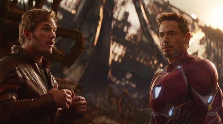 Peter Quill y Tony Stark en 'Vengadores: Infinity War'