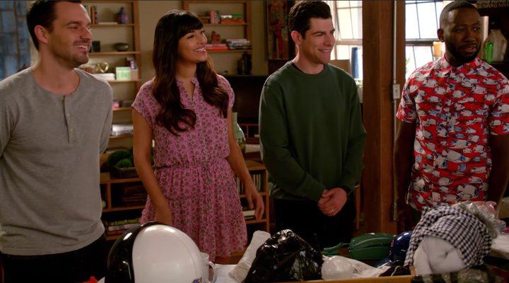 Nick, Cece, Schmidt y Winston en 'New Girl'