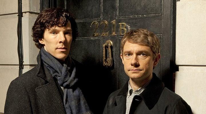 Benedict Cumbertach y Martin Freeman en una sesión de fotos de 'Sherlock'
