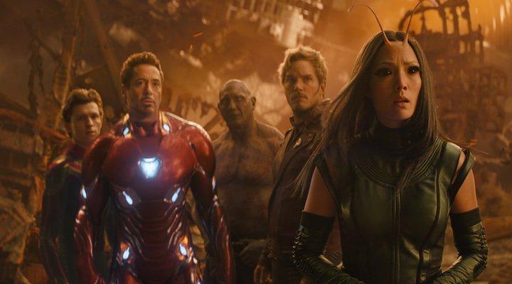 Spider-Man, Iron Man, Drax y Mantis en 'Vengadores: Infinity War'