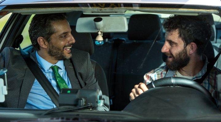 Dani Rovira y Joaquín Furriel en el rodaje de 'Taxi a Gibraltar'