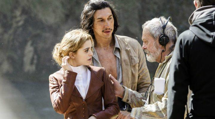 Joana Ribeiro con Adam Driver y Terry Gilliam en el rodaje de 'El hombre que mató a Don Quijote'