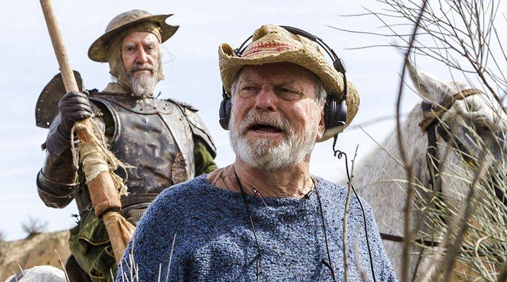 'Terry Gilliam y Jonathan Pryce en el rodaje de 'El hombre que mató a Don Quijote'