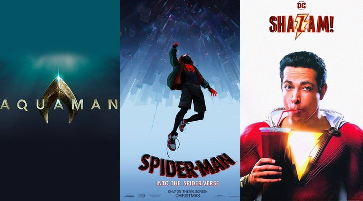 'Posters de Aquaman, Spider-Man: Un nuevo universo y Shazam'