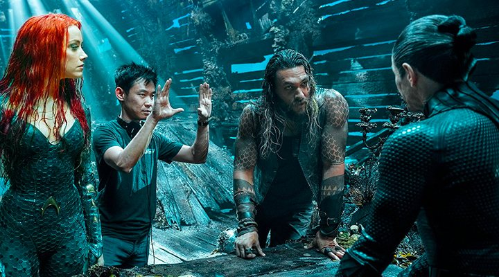 'James Wan dirigiendo a Amber Heard, Jason Momoa y Willem Dafoe en Aquaman'
