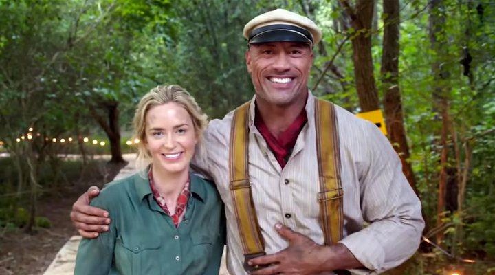 Emily Blunt y Dwayne Johnson en el set de rodaje de 'Jungle Cruise'