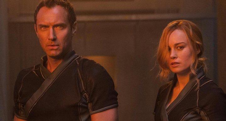 Jude Law y Brie Larson en 'Capitana Marvel'