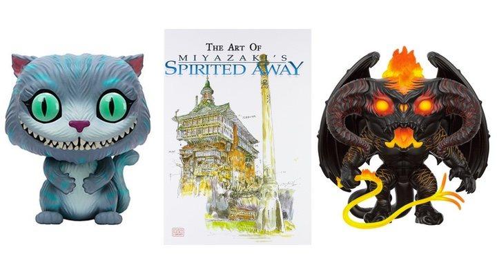 imagen de los Funko POP! de 'El Señor de los Anillos' y 'Alicia en el País de las Maravillas' y el libro de arte de 'El viaje de Chihiro'
