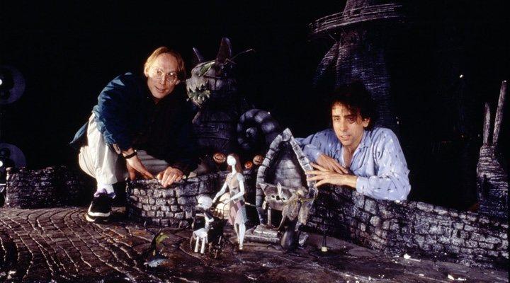 Henry Selick y Tim Burton en el rodaje de 'Pesadilla antes de navidad'