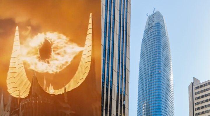 El ojo de Sauron (izquierda) y la torre Salesforce (derecha)