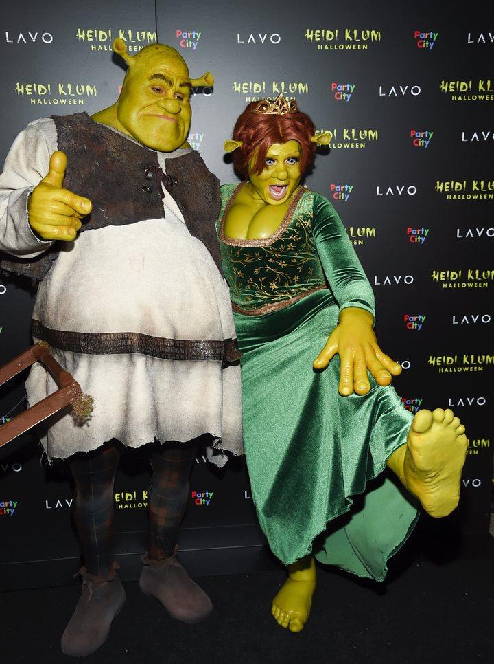 Heidi Klum y Tom Kaulitz disfrazados de Fiona y Shrek en Halloween