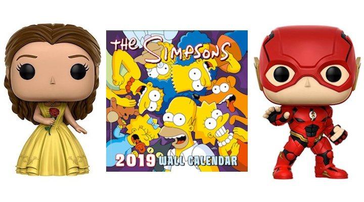 Imagen de los Funko POP! de Bella y Flash y el calendario de 'Los Simpson'