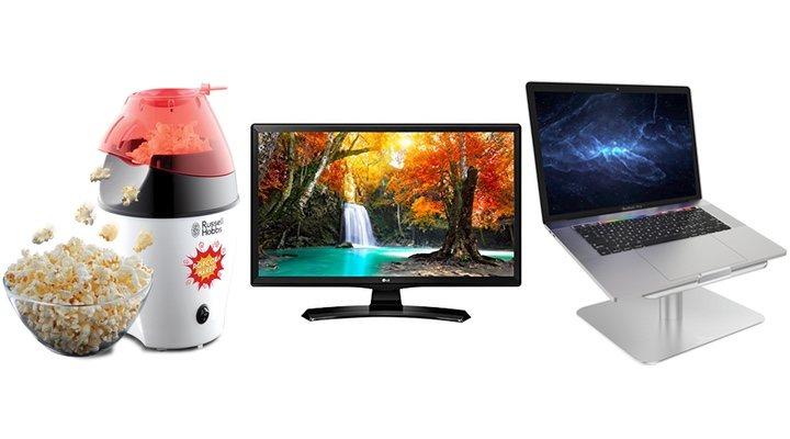 Imagen de una palomitera, una televisión y un soporte para ordenador