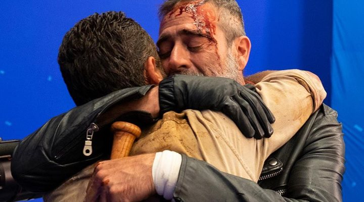 Andrew Lincoln y Jeffrey Dean Morgan en el set de rodaje de 'The Walking Dead'