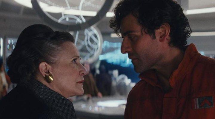 Carrie Fisher y Oscar Isaac en 'Star Wars: Los últimos Jedi'