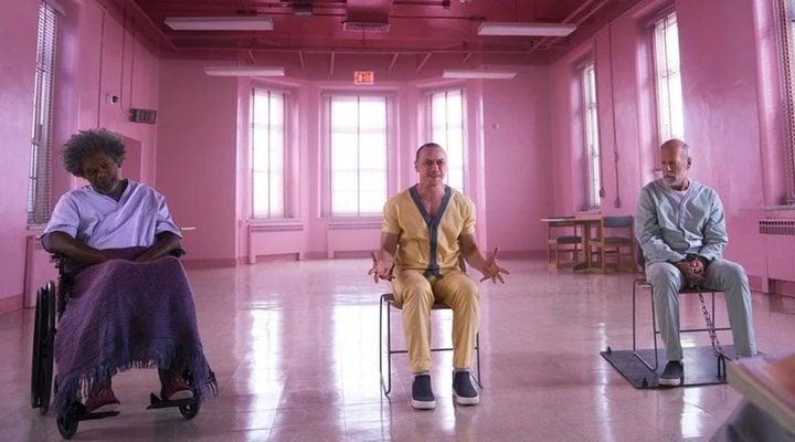 Samuel L. Jackson, James McAvoy y Bruce Willis en 'Glass (Cristal)'