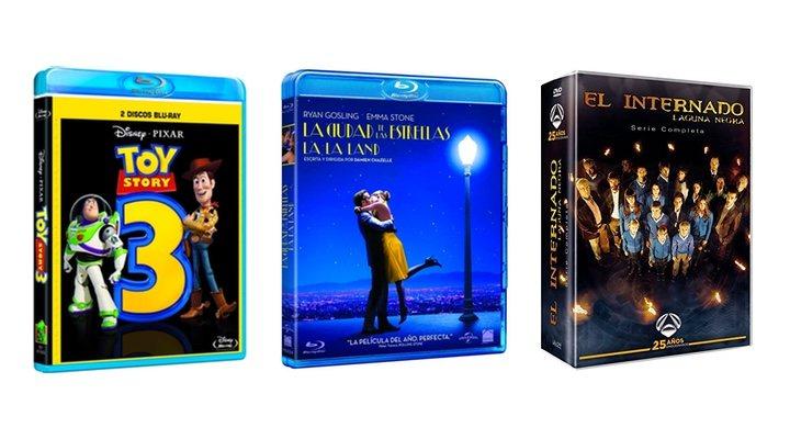 Portadas de 'La ciudad de las estrellas: La La Land', 'Toy Story 3' y 'El internado'