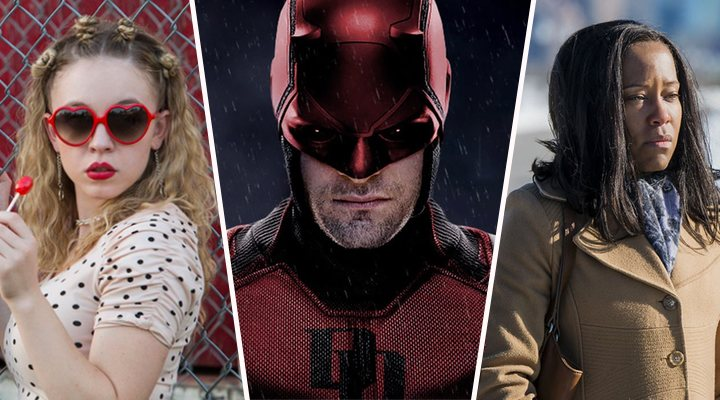 Sydney Sweeney en 'Todo es una mierda'; Charlie Cox en 'Daredevil' y Regina King en 'Seven Seconds'
