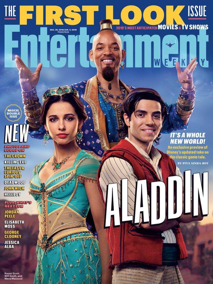 Naomi Scott, Will Smith y Mena Massoud en 'Aladdin'