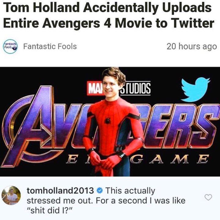 'Vengadores: Endgame': Tom Holland da una respuesta genial a un rumor falso difundido por un fan