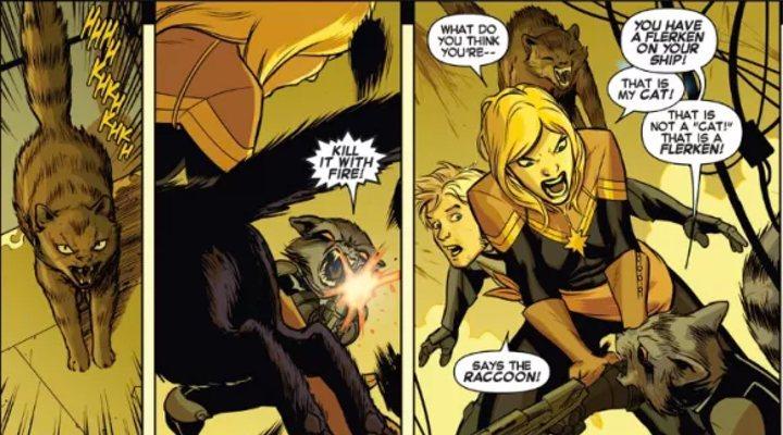 Momento en que Rocket descubre que Goose es un Flerken en los cómics de Ms. Marvel
