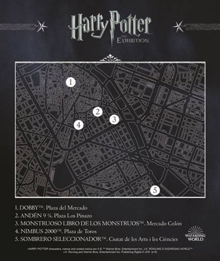Plano del tour de estatuas de Harry Potter, en Valencia