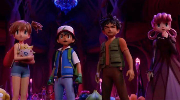Ash, Misty, Brock y la enfermera Joy en 'Mewtwo Strikes Back Evolution'