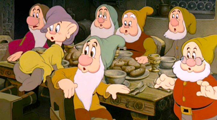 Los enanitos en 'Blancanieves y los siete enanitos'