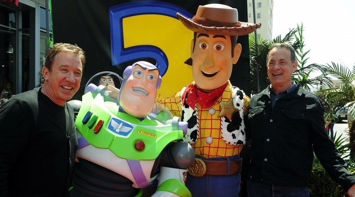 Tom Hanks, Tim Allen, Buzz Lightyear y Woody