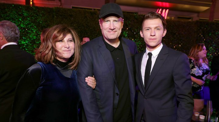 Amy Pascal con Kevin Feige y Tom Holland