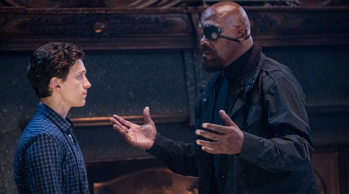 Nick Furia y Peter Parker en 'Spider-Man: Lejos de casa'
