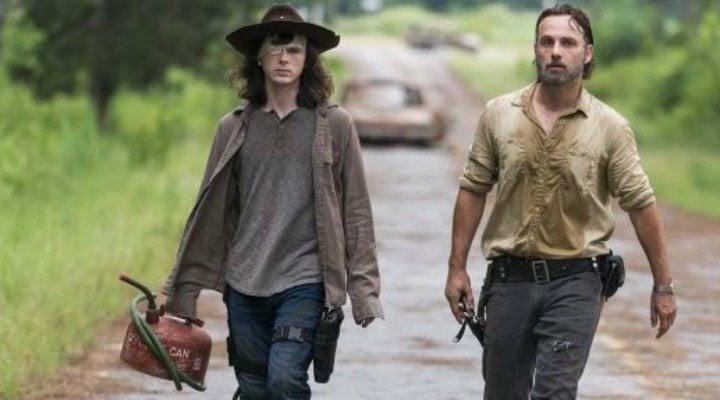 Carl y Rick Grimes en 'The Walking Dead'