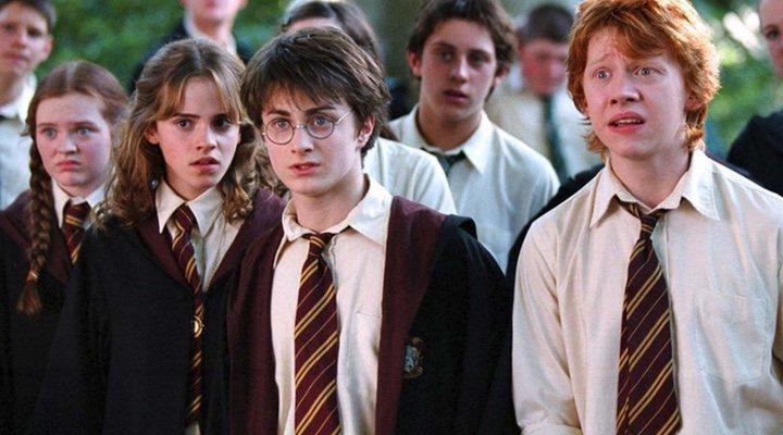 Hermione, Harry y Ron sorprendidos en 'Harry Potter y el prisionero de Azkaban'