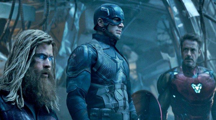 Chris Hemsworth, Chris Evans y Robert Downey Jr. en 'Vengadores: Endgame'