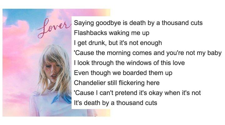Extracto de letra de 'Death by a Thousand Cuts', canción del último disco de Taylor Swift, 'Lover'.