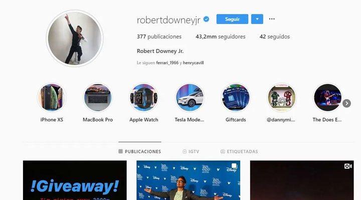 Captura de la cuenta de Robert Dwney Jr. durante el hackeo