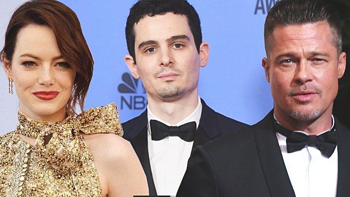 Emma Stone, Damien Chazelle y Brad </p><p>Pitt
