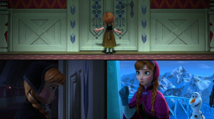 'Anna detrás de la puerta de Elsa una y otra vez'
