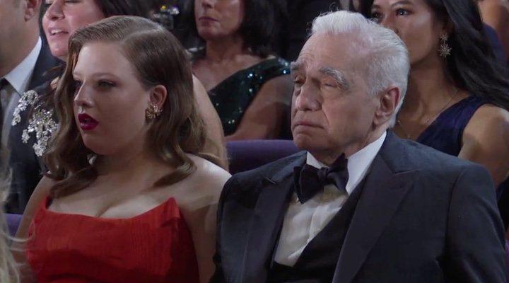 Scorsese durante la actuación de Eminem en los Oscars 2020