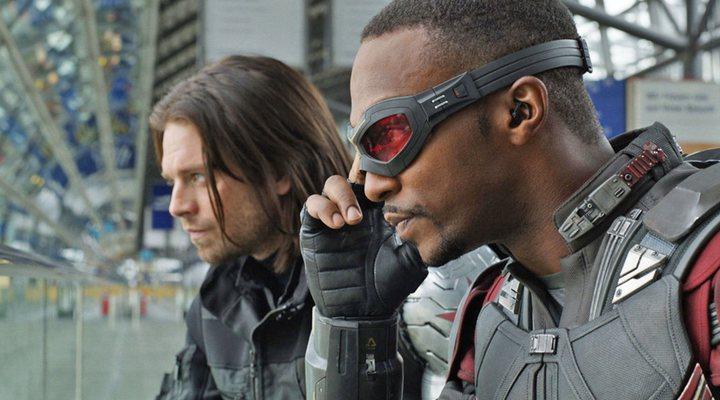Sebastian Stan y Anthony Mackie </p><p> en 'Capitán América: Civil War'
