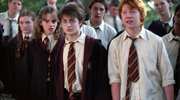 Rupert Grint, Emma Watson y Daniel Radcliffe en 'Harry Potter y el prisionero de Azkaban'