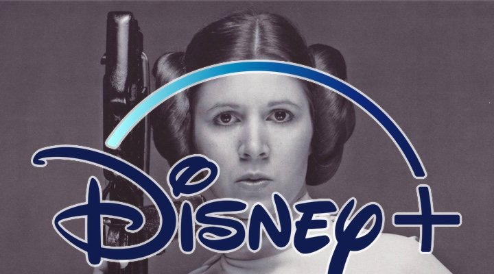 Carrie Fisher como la Princesa Leia en 'Star Wars' junto al logo de Disney+
