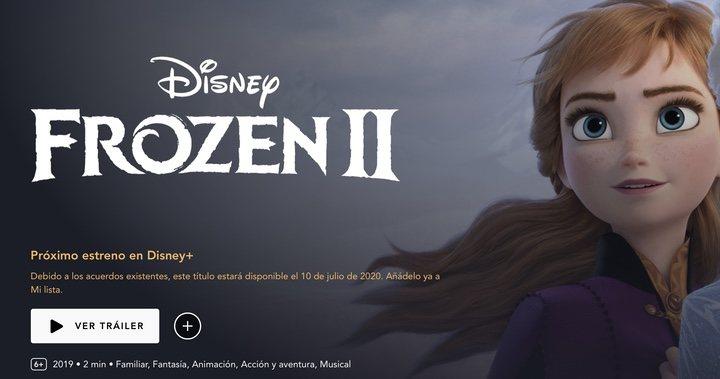 La página de Disney+ explica que 'Frozen 2' no llegará a la plataforma antes de julio