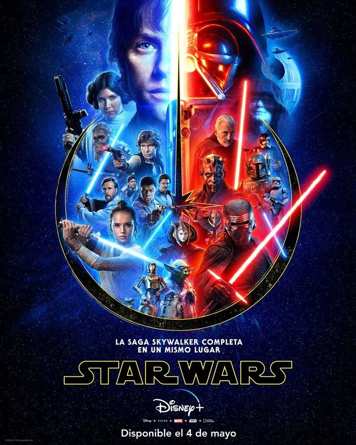 Póster promocional de la saga Skywalker completa en Disney+