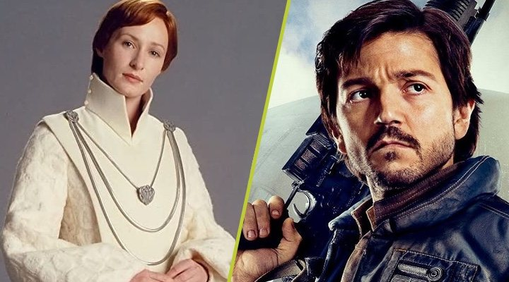 Genevieve O'Reilly y Diego Luna como Mon Mothma y Cassian Andor en 'Rogue One'
